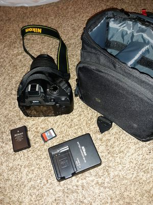 Nikon D3200 + strap, lense, battery, charger, case, memory card for Sale in Grand Rapids, MI