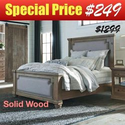 Rustic Smoke Eastern King Panel Bed with Vintage Grey Fabric Upholstery and Solid Pine Wood for Sale in Yorba Linda,  CA