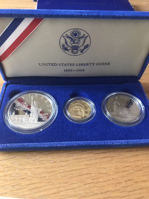 1986 3 coin commemorative Statue of Liberty proof set for Sale in New Lenox, IL