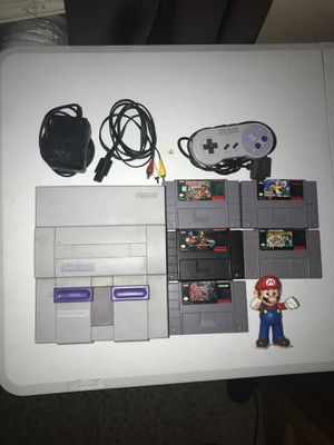 Super Nintendo Bundle with cables, 1 controller, and 5 Games (Mario, Donkey Kong, Contra) for Sale in Corona, CA