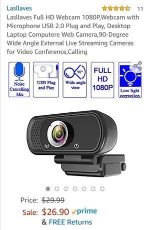 Lasllaves Full HD Webcam 1080P,Webcam with Microphone USB 2.0 Plug and Play, for Sale in Wausau, WI