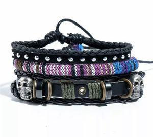 Black Silver Skull Bracelet Tribal Leather Cuff Charm Wristband For Men Women for Sale in Danbury, CT