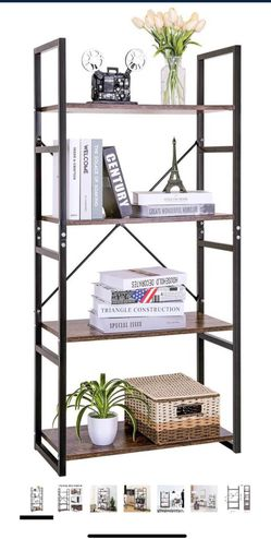 Bookshelf Vintage 4-Tier Bookcase Wood Display Shelf Units Storage Organizer for Home Office for Sale in Plainview,  NY