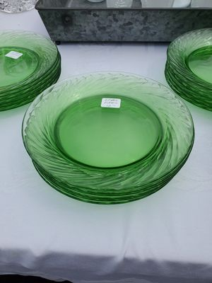Vtg Pyrex green depression glass salad,dessert plates for Sale in Anaheim, CA