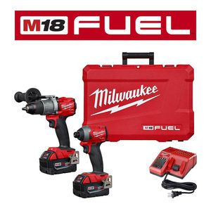 Milwaukee M18 Fuel 18-Volt Lithium-Ion Brushless Cordless 1/2 in. Hammer Drill Driver Kit with Two 5.0 Ah Batteries and Hard Case for Sale in Takoma Park, MD