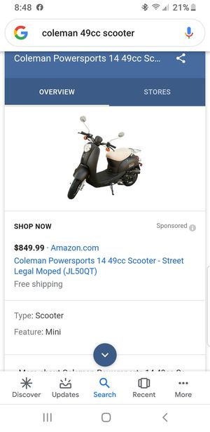 Coleman powersports 50CC Moped for Sale in Coral Springs, FL