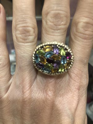 Large sterling silver and gem stone ring 5.5 for Sale in Los Angeles, CA
