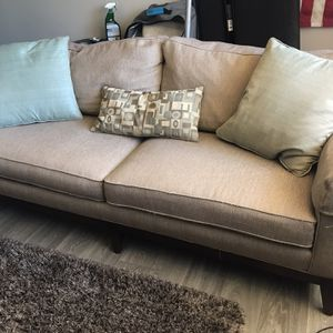 6' Tan Cloth Sofa Couch Pillows for Sale in Denver, CO