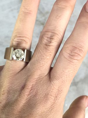 Men solid white gold tension set ring 2.66 fancy yellow moissanite center for Sale in Arlington Heights, IL