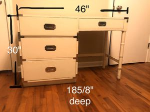 White Desk with Decorative Silver accents for Sale in Marietta, GA