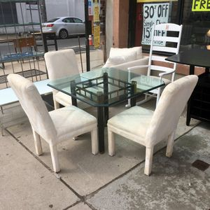 Glass Top Table & 3 Upholstered Dining Chairs for Sale in Philadelphia, PA