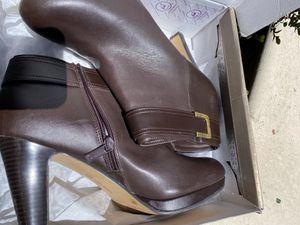 Women size 11 brown heel booties for Sale in San Mateo, CA