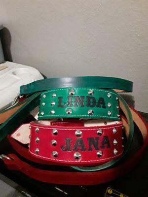 Dog collar 100%leather S,M,L,XL custom with dog name 2 inches wide (collares para perro de cuero con nombres dos pulgadas de ancho) for Sale in Dallas, TX