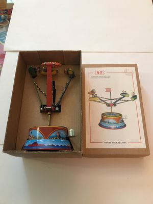 Collectible Rotating Spinning spaceships Wind Up Rotating Tin Toys w/ Key Home Decor for Sale in Eagle, WI
