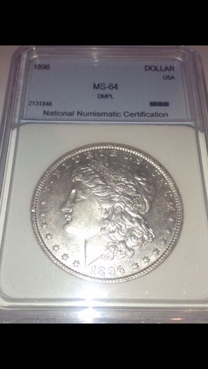 Rare Deep Mirrored Proof Like (DMPL & MS64) Mint State 64 1896 Morgan Silver Dollar- Professionally Graded- Greysheet $390 Value! for Sale in Fairfax, VA