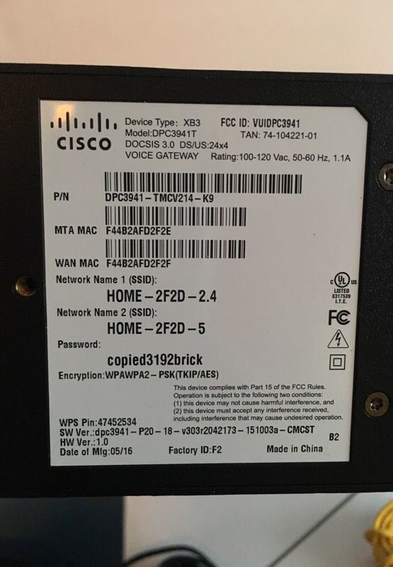 Comcast xfinity wi-if wifi cable modem router  Cisco dpc3941t docsis 3 0  dual band for Sale in Hollywood, FL - OfferUp