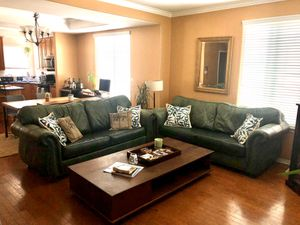 Soft green leather loveseat/sofa/couch set -Rustic Nailhead hardware accents for Sale in Lomita, CA