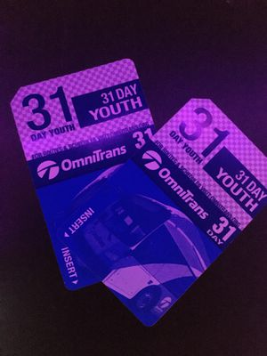 TWO UNUSED 31-DAY YOUTH OmniTrans Bus Passes for Sale in Upland, CA