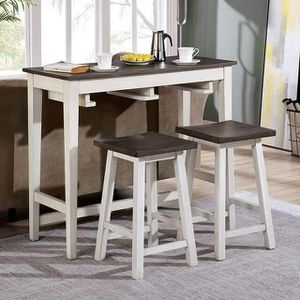 WHITE GRAY FINISH SPACE SAVER 3 PIECE CONSOLE DINING COUNTER TABLE STOOLS / MESA SILLAS BANCOS for Sale in Hemet, CA