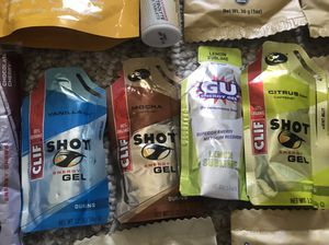 Athletes nutritional supplies - Salt stick capsules, active hydration, Clif shots, shot gel and honey stinger waffles - run bike workout for Sale in Indianapolis, IN