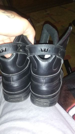 Supra black leather shoes mens for Sale in Phoenix, AZ