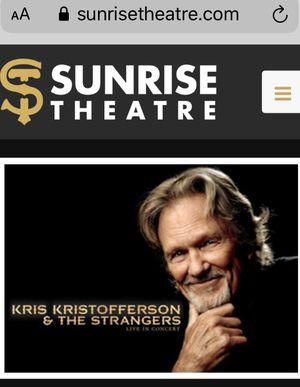 4 tickets to Kris Kristofferson, FEB 5, 7pm, Sunrise Theatre, Ft Pierce for Sale in Port St. Lucie, FL