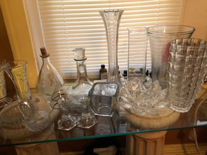 17 pc Lot of Vintage Assorted Glassware Decanters & Vases for Sale in St. Louis, MO