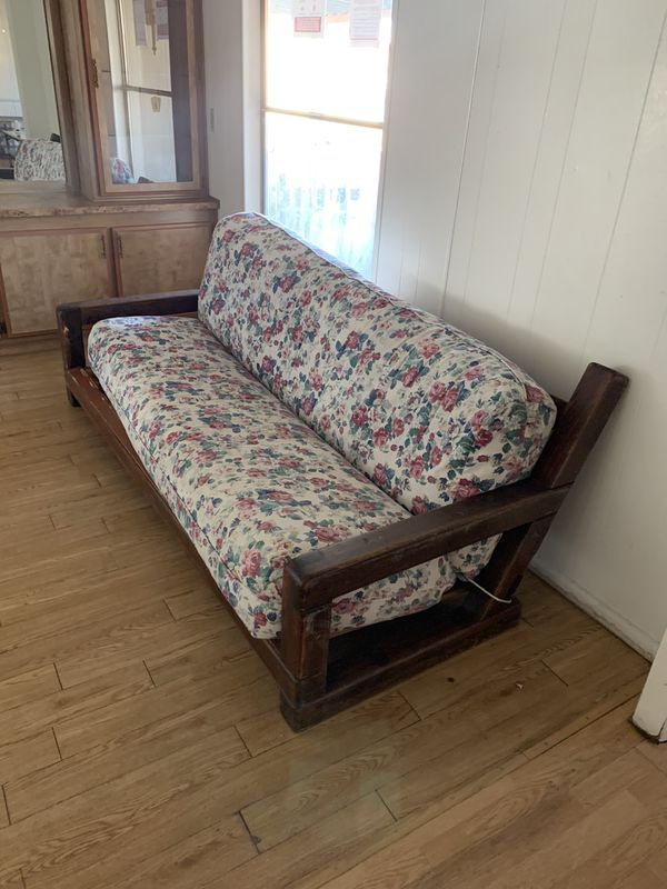 Flower Couch On Wooden Frame