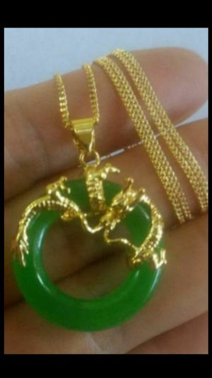 "Good luck dragon green jade jadeist gold plated pendant chain 18""2mm for Sale in El Sobrante, CA"
