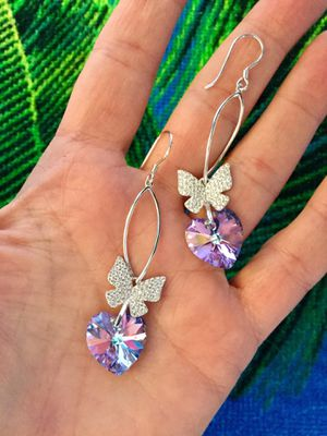 Lovely Sterling silver CZ butterfly with Amethyst Crystal Hearts long earrings / NEW 💛💜💛 for Sale in Lincolnia, VA