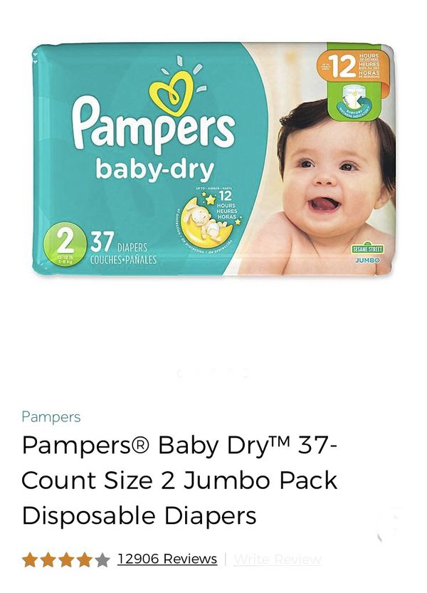 74 size 2 pampers baby dry diapers and 528 wipes for only 24$