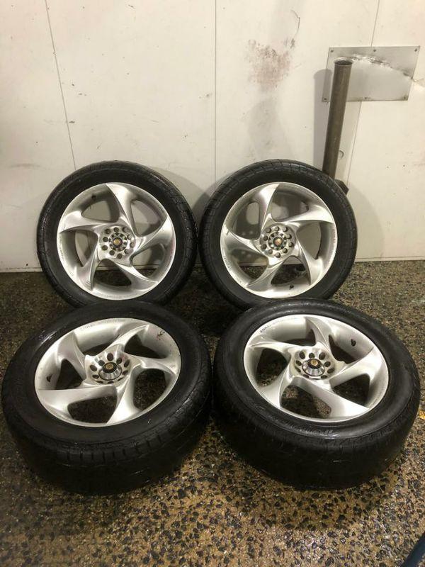 4 17 in 5x100 5x114.3 wheels rims and tires. Enkei sportline