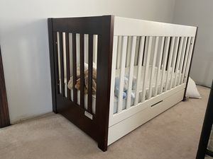 Babyletto Espresso/White crib with matress for Sale in North Royalton, OH