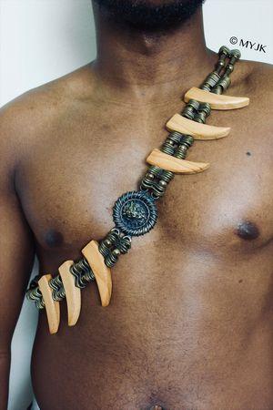*RARE* Vintage Handmade Metal & Wood   Lion Head   Brass Link Tribal Warrior Belt   Body Chain for Sale in Wichita, KS