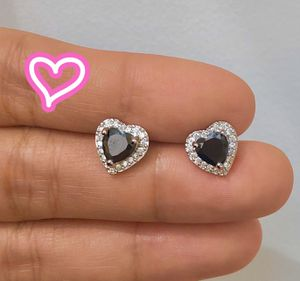 14K White Gold Plated Simulated Diamond Heart Earrings for Sale in Danville, CA
