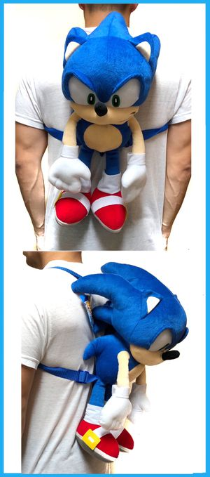 NEW! Novelty Sonic The Hedgehog soft plush backpack movie kids bag shoulder bag rave sega video games anime for Sale in Carson, CA