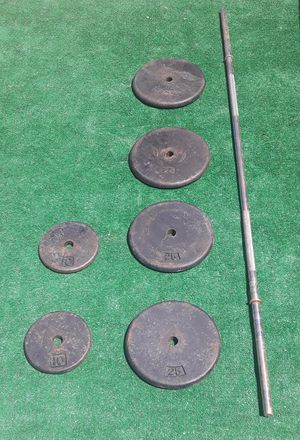 120lbs Standard Size Barbell Pancake Plate Weights with Bar 4x25lbs 2x10lbs for Sale in Hollywood, FL