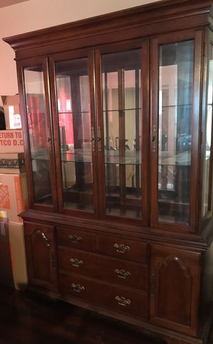 China Cabinet 2 Pieces Luminated Tri-Door 3 Glass Shelves OBO for Sale in Long Beach, CA
