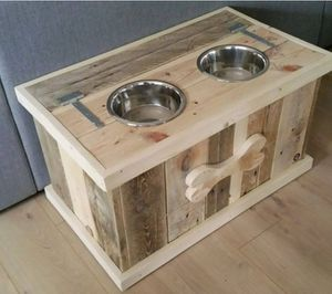 Pet food dish with storage area. 12 inches height, 16 inches by 10 wide for Sale in Brooktondale, NY