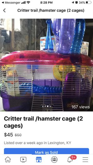 2 Hamster cage with connection , toys & bedding for Sale in Lexington, KY