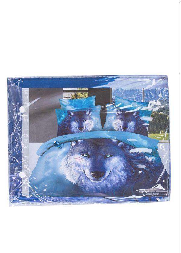 3D Blue Wolf Bedding Sets Queen,4 Piece New