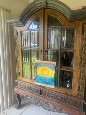Japanese/ Chinese Hutch Nice Detailed wood working for Sale in Miami, FL