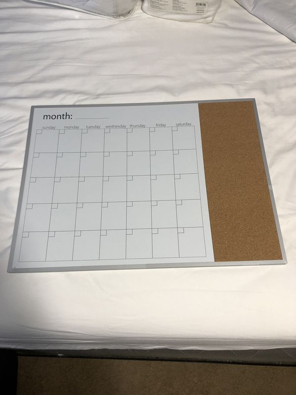 Calendar whiteboard and cork board