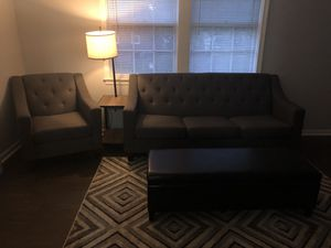Sofa, Chair and black leather ottoman $540 for Sale in Temple Hills, MD