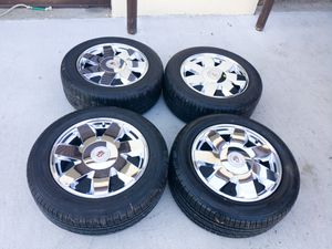 Set of 17 inch Chrome Cadillac Wheels and Tires for Sale in Chesapeake, VA