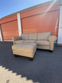 Genuine Leather Tan Couch Sofa - FREE DELIVERY for Sale in Scottsdale,  AZ
