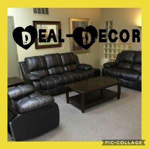 Reclining Leather 3 Piece Sofa Set for Sale in Atlanta, GA