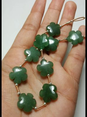 9pcs- Green Aventurine flower shape gemstone beads Bead size Apx - 15mm for Sale in Queens, NY