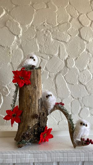 3 baby owls and the natural wood with red flowers Christmas decoration for Sale in Morristown, NJ