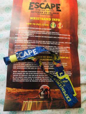 Escape 2019 2-day GA wristband for Sale in Los Angeles, CA